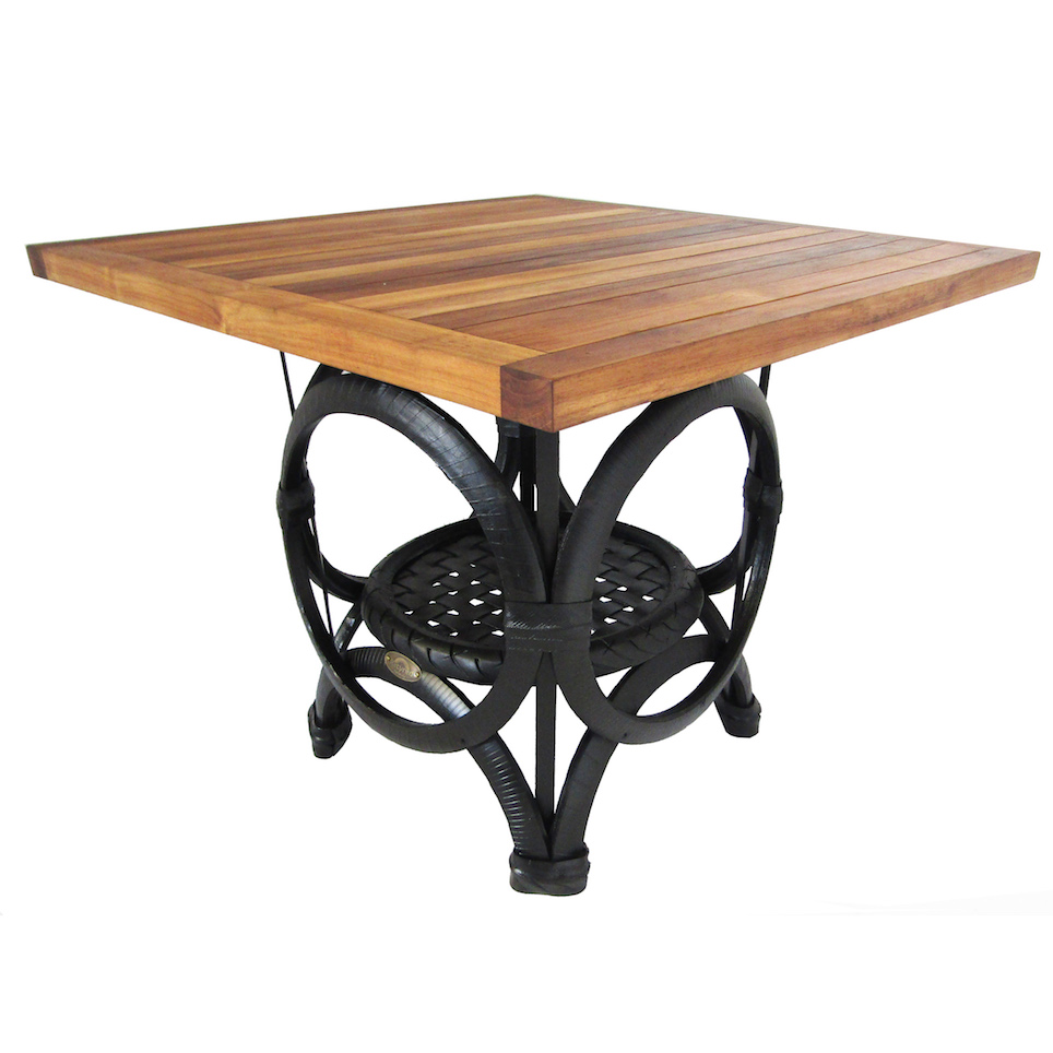 Teak Tyre Cafe Table Square Retyred